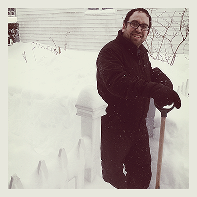 Four hours later and with a little neighborhood help, Larry saves the day by digging us out!
